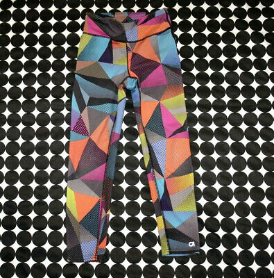 Girl's GAPFit Geo Print Multicolor Orange Green Pink Black Athletic Leggings 6/7