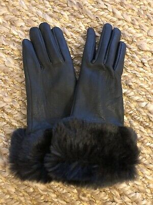 White House Black Market Women's Black Leather Fur Trimmed Gloves Size Small