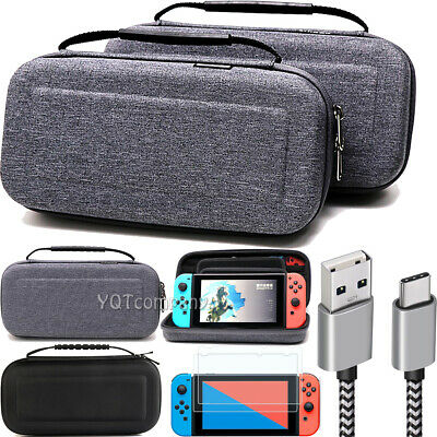 For Nintendo Switch Bag Storage Case Accessories+Charging Cable+Screen Protector
