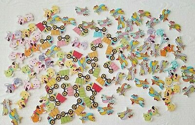 Lot Wood Kids buttons Crafting animal buttons Fox Airplane Trucks Dogs (lot#9