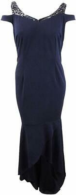 Adrianna Papell Womens Blue US Size 16W Plus Gown Embellished Straps $179 208