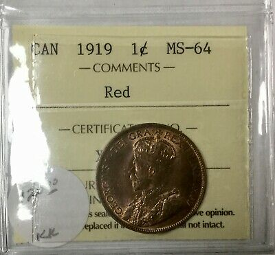 Canada 1919 ICCS RED   Large Cent  MS 64 Nice Coin Very Well Struck