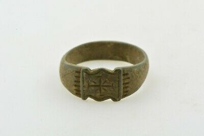 Byzantine Medieval Crusader Templar bronze ring CROSS 9-12th century AD Sz 8