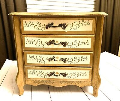 Beautiful Shabby Chic Hand Painted Florentine Wooden Armoire Jewelry Chest Japan