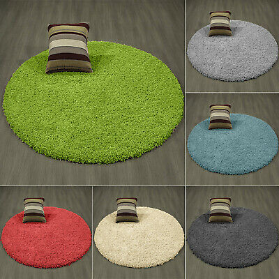 Soft Circle Round Shaggy Rug Living Thick Room Bedroom Carpet Floor Fluffy Mat