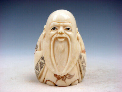 Japanese Detailed Hand Carved Netsuke Big Long Beard Old Man Big Ears #12181911
