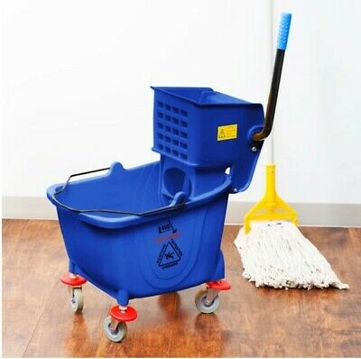 Commercial Mop Bucket Wringer w/ Wheels 36 Qt. Professional Janitor Cleaner Blue