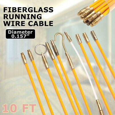 15Pcs 10FT Fiberglas Cable Access Kit Electricians Pulling Puller Rods Draw   !