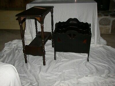 Antique Magazine Rack and Phone Table