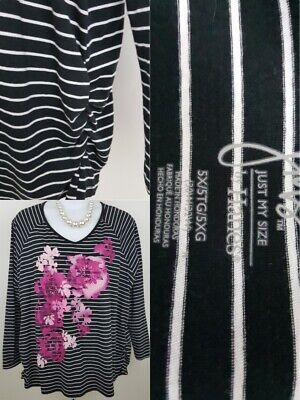 JMS Just My Size 5X Black White Stripe Ruched Side Long Sleeve V-Neck Tee
