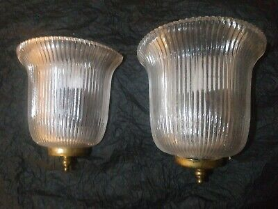 Pair ANTIQUE ART DECO CRYSTAL SLIP SHADE SCONCES  WALL FIXTURES 30's