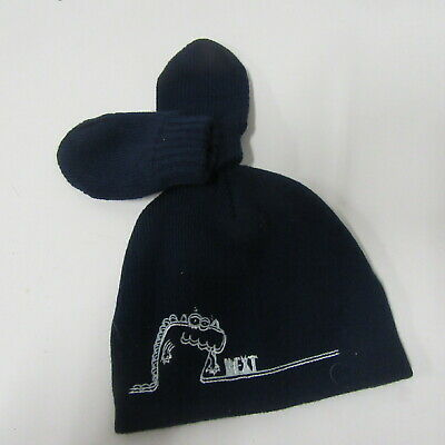 Next Baby Boys   Navy Beanie And Mittens  Age 3 - 9 Months