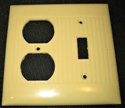Vintage Ribbed Ivory Bakelite Sierra Electric Combo Switch Outlet Plate