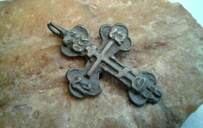 "ANTIQUE c. 18-19th CENTURY ""OLD BELIEVERS"" ORTHODOX CROSS PENDANT with PSALM 68"
