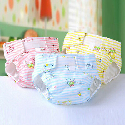 Baby Reusable Soft Cotton Cartoon Cloth Diaper Nappy Insert Size Adjustable