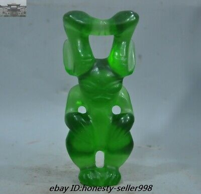 Rare Old China Hongshan Culture green crystal carving Sun god Helios Statue