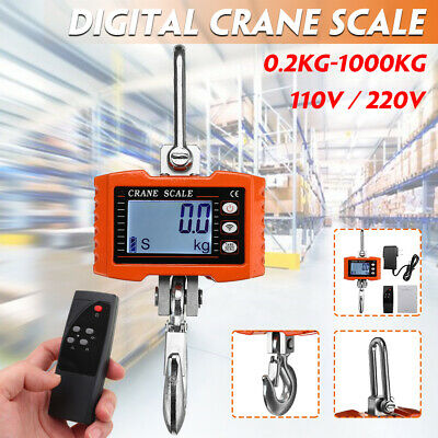 1000kg HD LED Electronic Digital Hook Crane Scale With Remote control Industrial