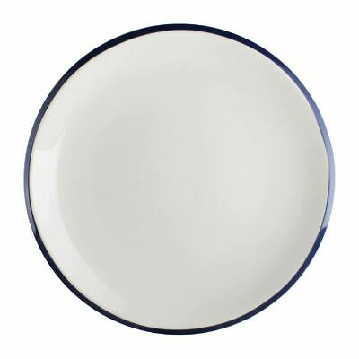 Olympia Brighton Coupe Plate in Porcelain - White with Blue Rim - 230(Ø) mm
