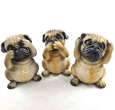 NEW set of 3 wolves 3 three wise figurines statue see no speak no nemesis wolf