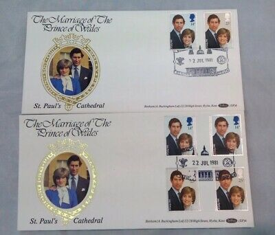 """Benham Silk FDC """"Marriage Of Prince Of Wales"""" 1981. Pair Of Covers"""