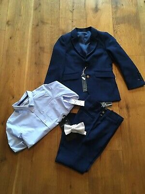 Boys Smart Navy Blue 4 Piece Suit - Jacket, Trousers, Shirt & Bow Tie-Age 6 BNWT