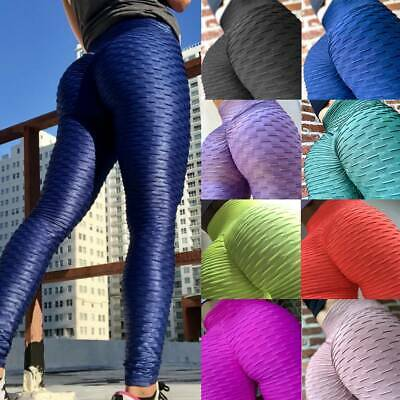Womens Anti-Cellulite Yoga Pants Leggings Push Up Ruched Sports Gym Fitness Plus
