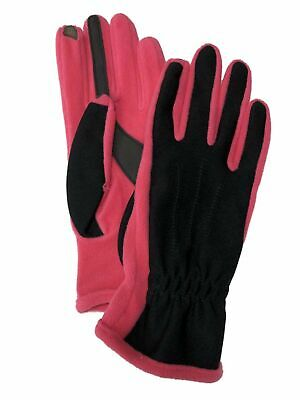 Isotoner Smart Touch Womens Black & Pink Touchscreen Tech & Text Stretch Gloves