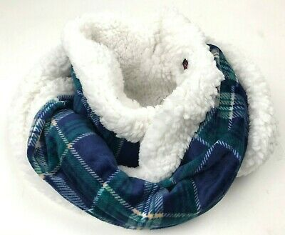 NEW Cuddl Duds Double Plush Velour Faux Sherpa Infinity Scarf A344593 Blue Plaid