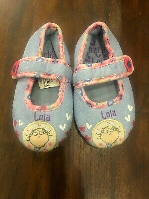 Baby Girls Blue Pink Charlie & Lola Slippers Shoes M&S Size 5 VGC