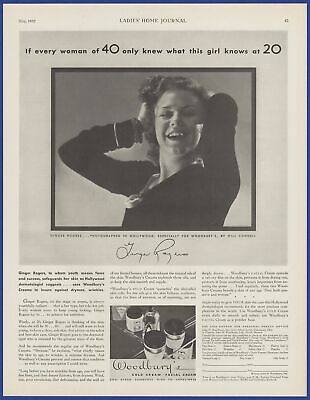 Vintage 1932 WOODBURY'S Cold Cream Facial Cream Ginger Rogers Print Ad 1930's