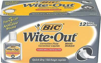 BIC Wite-Out Brand Quick-Dry Correction Fluid WOFQD12CT