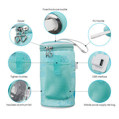 USB Baby Bottle Warmer Heater Insulated Bag Travel Cup Portable Milk Thermostat