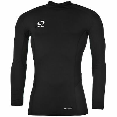 Sondico Mock Neck Baselayer Shirt Mens Black Football Soccer Compression Top