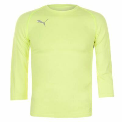 Puma Three Quarter Baselayer Shirt Mens Yellow Football Soccer Compression Top