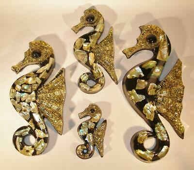 4 Piece Retro SEAHORSE Family Kitchy Bathroom Wall Plaques Acrylic Abalone MCM