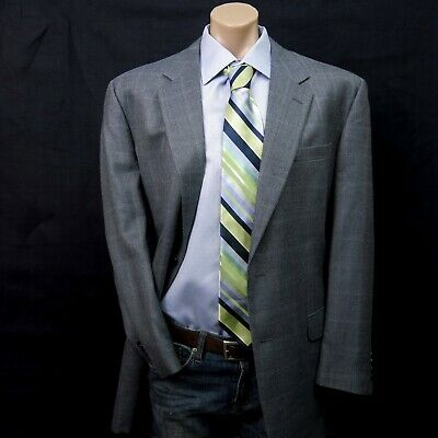 JOS A BANK Mens Silk Wool Blazer Sport Coat Jacket Size 46L Gray plaid checks