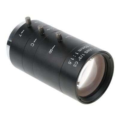 Black Manual Iris Zoom 6-60mm CS C Mount Lens for TV Microscope 1/3 in CCD Chips