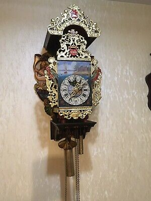Rare, Huge Dutch Stoel Mermaid Folklore Clock, Bell Chime & Alarm, Plus Weights