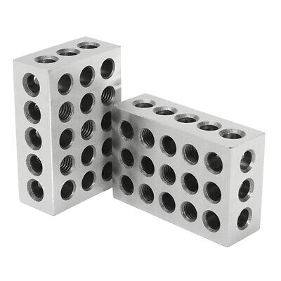 """1 Pairs of 1-2-3 Block Set 0.0002"""" Precision Matched Milling Machinist 23 Holes"""