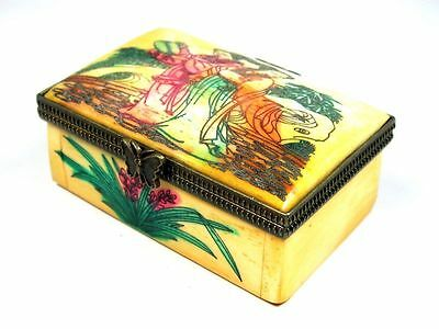 Bone Brass Hand Crafted Jewelry Box Palace Ladies Hand Painted #11281504