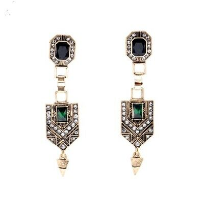 Gold Green long Drop Crystal Dangle Earrings vintage style victorian Gift UK