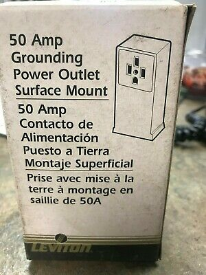 Leviton 50 Amp Grounding Power Outlet Surface Mount. Black,New In Original Box.