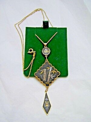AA Alcoholics Anonymous Classic Enamel Inlay Pendant #923-5 Large Size Ster.