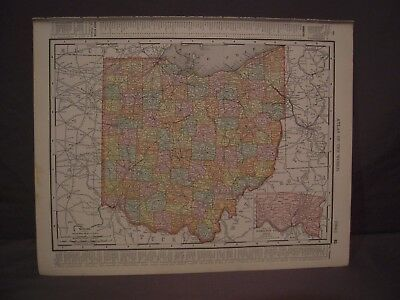 Antique 1898 Color Map of Ohio or Cincinnati from Rand McNally Atlas