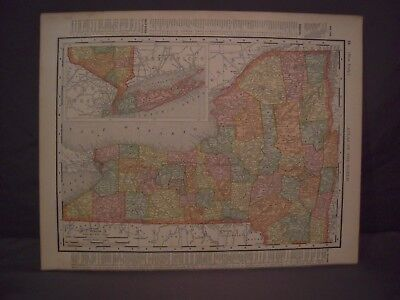 Antique 1898 Color Map of New York or Connecticut from Rand McNally Atlas