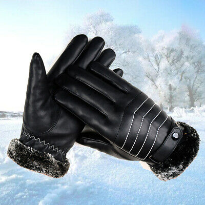 1 Pair Gloves Windproof Leather Faux Fur Ski Driving Mittens Touch Screen Gloves