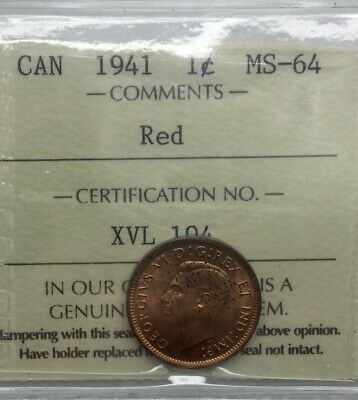 Canada 1941 George VI Small Cent  ICCS MS 64 RED   Gorgeous Colour Sharp Coin