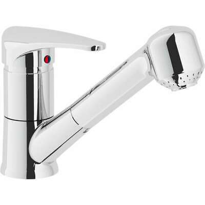 Disc Single Lever Mixer Sink with Shower Extractable 2 Jets Chrome Nobi