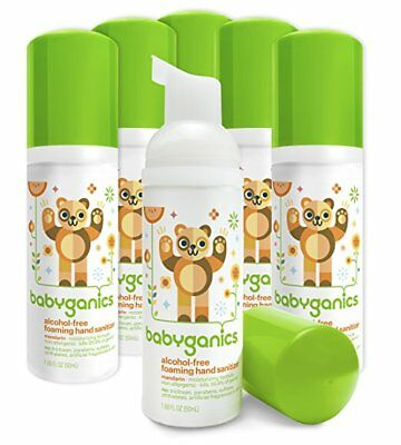 Pack de 4 Babyganics Espuma Desinfectante Manos, Mandarín, On-The-Go, 1.69 Fl OZ