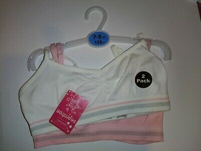 Primark essentials pink and white two pack seam free 7-8 crop top/ bra BNWT
